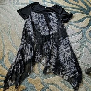 Etc. Sheer animal print handkerchief hem tunic